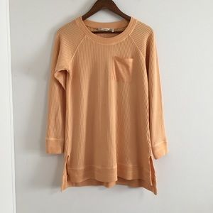 Soft Surroundings Autumn Waffle Tee in Apricot Ice